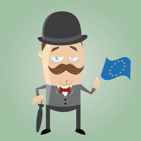british man: british man with european flag