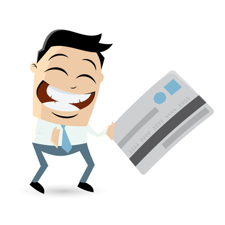 asian man smiling: funny cartoon man with credit card