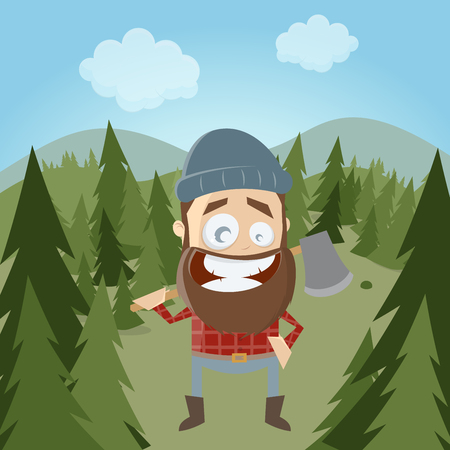 lumberman: funny cartoon lumberjack in forest