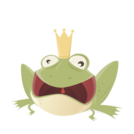 croak: croaking cartoon frog with mouth wide open Illustration
