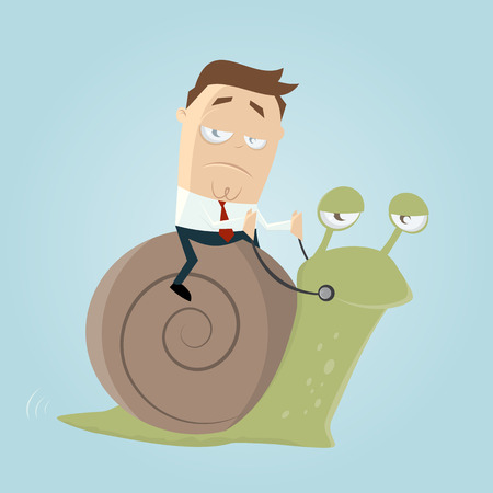 slow: businessman riding a slow snail