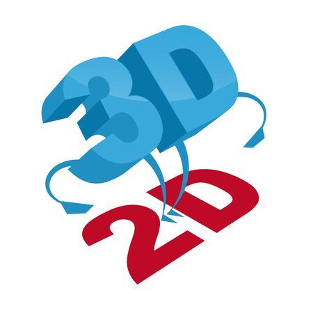 2d: 3d standing over 2d