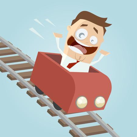 feliz hombre de negocios en una montaña rusa