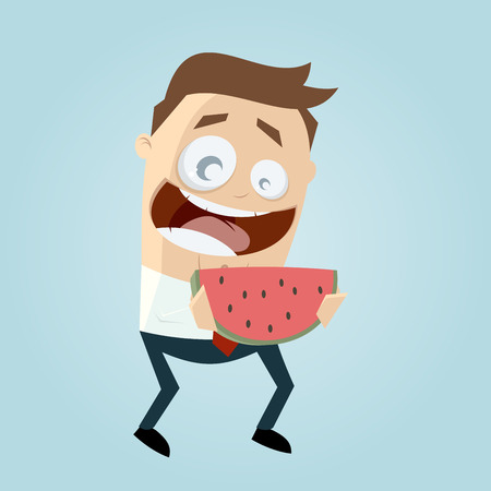 salesmen: funny cartoon man holding a melon