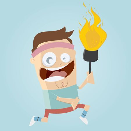 fleming: funny cartoon athlete with torch