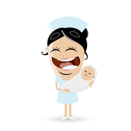 asian family: funny cartoon midwife with baby