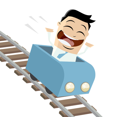 asian businessman: happy businessman in a rollercoaster Illustration