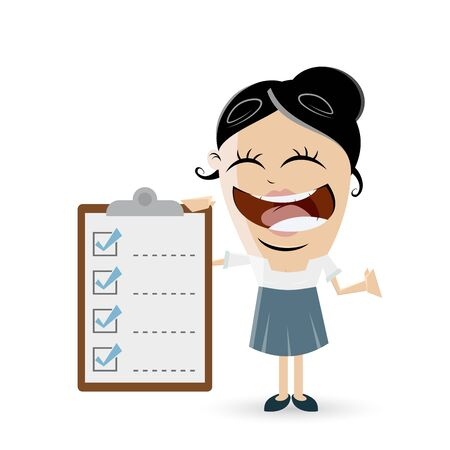 funny business woman with checklist