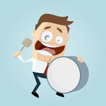 funny cartoon man with big drum Ilustração