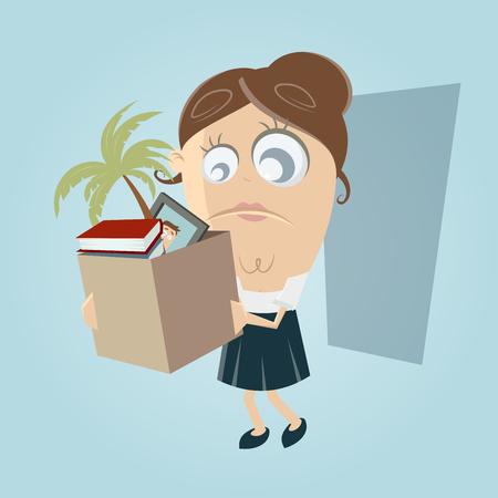 going away: sad employee lost her job