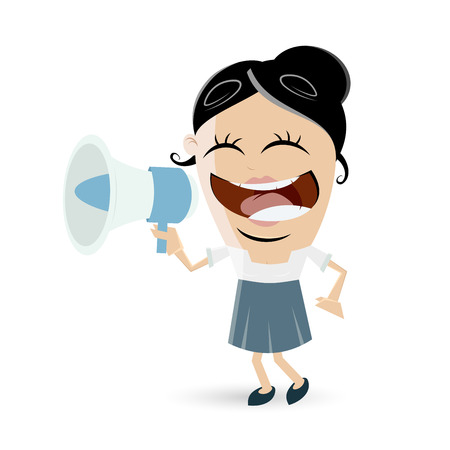 cartoon work: funny business woman with megaphone