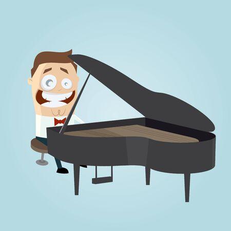 tocando piano: Hombre divertido de la historieta que juega el piano