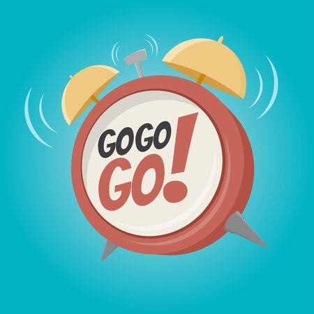 go go go alarm clock in retro cartoon style