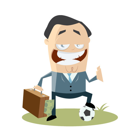 hypocritical: soccer manager with money in his bag