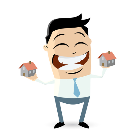 comparing: happy businessman comparing houses