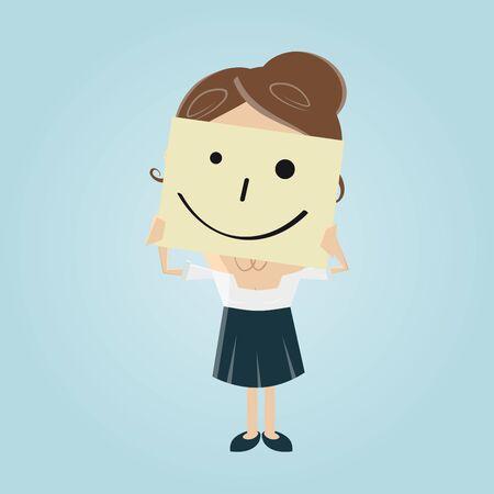 femme d'affaires avec la note smiley sur son visage