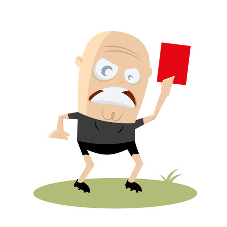 referee: angry referee showing red card Illustration