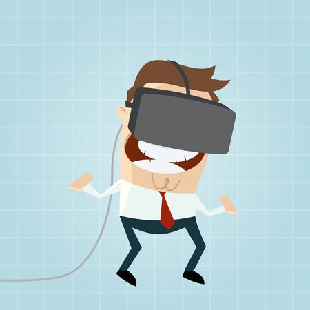 funny glasses: funny cartoon man with vr glasses in cyberspace