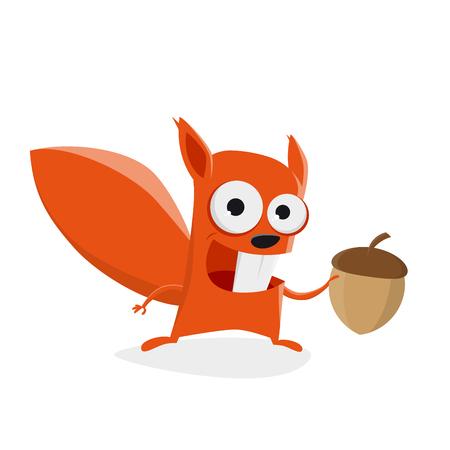 funny cartoon squirrel holding a nut