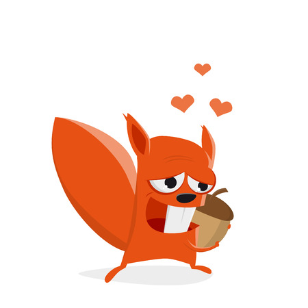 funny cartoon squirrel in love with a nut Illustration
