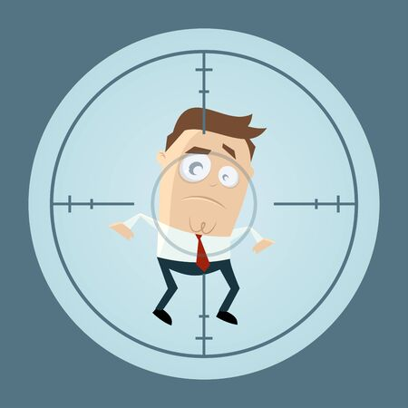 skeptical: businessman in crosshairs cartoon clipart Illustration