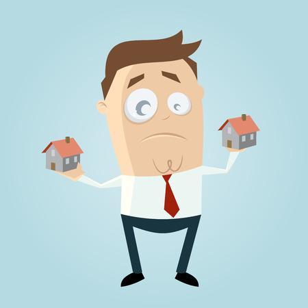 hombre de dibujos animados comparando casas Ilustración de vector