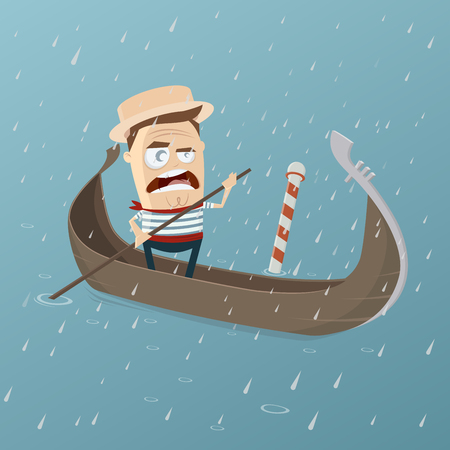 gondolier: grumpy venetian gondolier in rainy weather