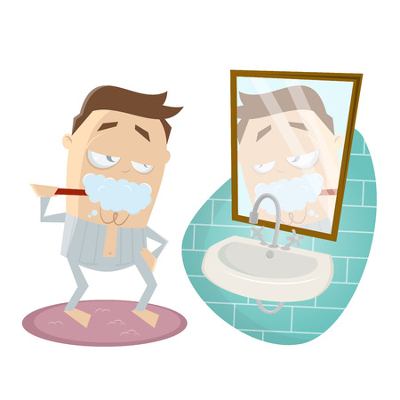 morning rituals: funny cartoon man brushing his teeth