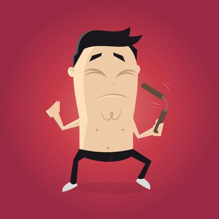 self training: asian fighter with nunchaku cartoon clipart