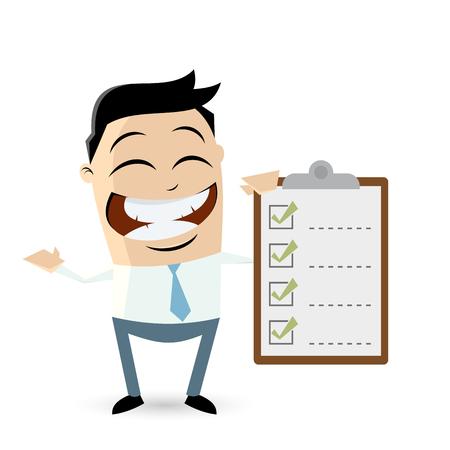 asian businessman: funny asian businessman with checklist