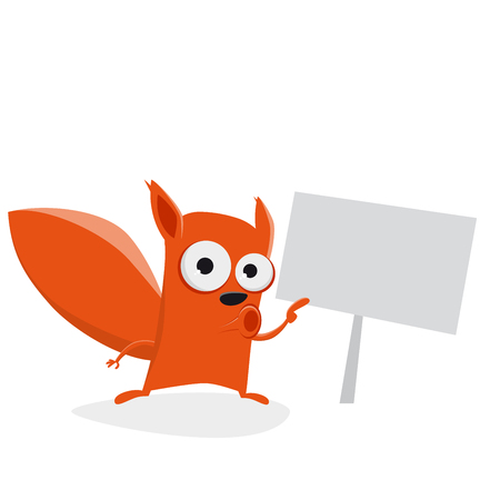 funny cartoon squirrel showing a sign Illustration