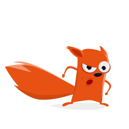 funny cartoon squirrel is angry