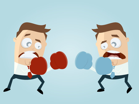 adversary: businessmen boxing against eachother Illustration