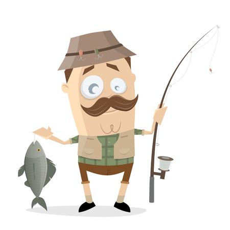 anglers: funny cartoon angler with a big fish and fishing rod Illustration
