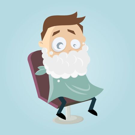 one trim: shaving cream cartoon man Illustration