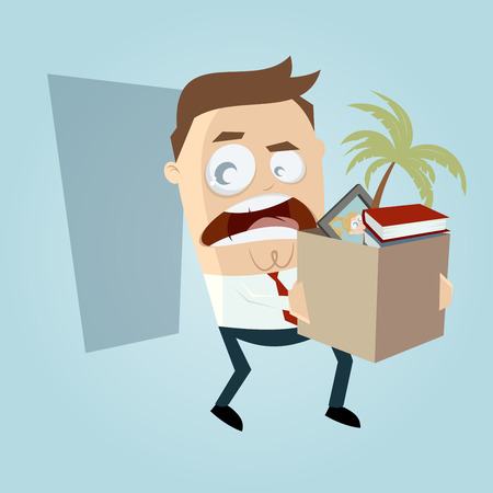 quit: angry employee quit his job Illustration