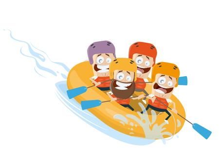 river rafting: river rafting cartoon clipart vector