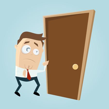 uneasy: cartoon man is afraid of knocking on the door