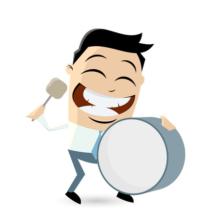 funny cartoon man with big drum Banco de Imagens - 59758931