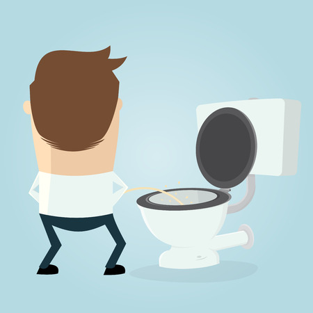 unclean: cartoon man peeing on the toilet seat