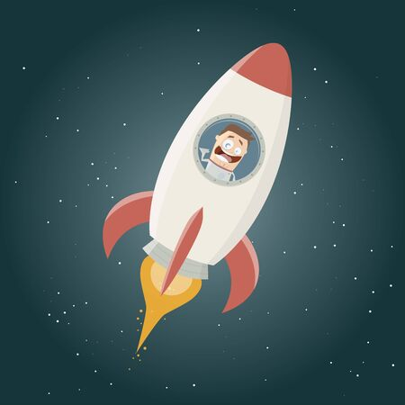 fleming: funny astronaut flying in a space rocket Illustration
