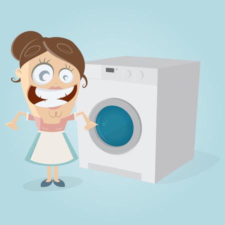 enthusiasm: happy housewife with washing machine