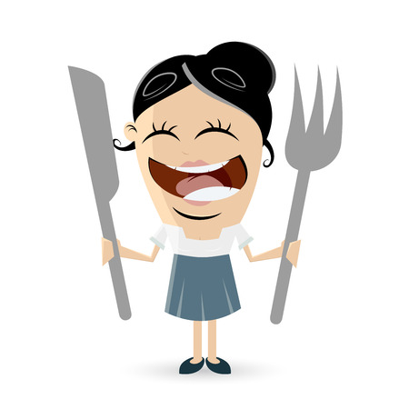 ready: funny comic woman with cutlery Illustration