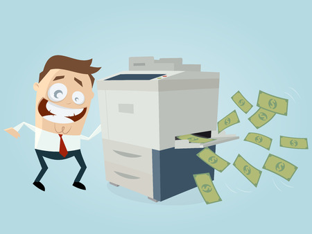 funny businessman making copies of banknotes