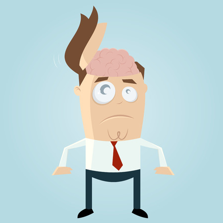 funny businessman with open head Illustration