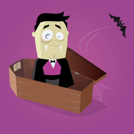 flying coffin: funny comic vampire in a coffin Illustration