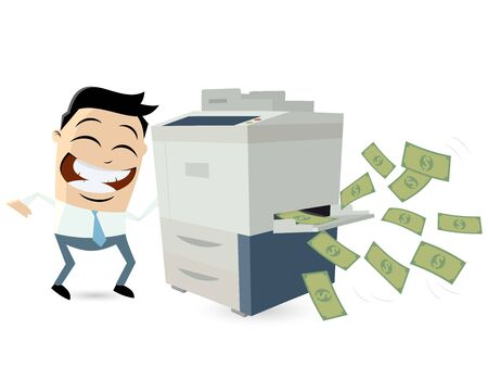 trickster: funny businessman making copies of banknotes