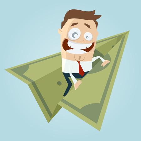 funny businessman on money paperplane