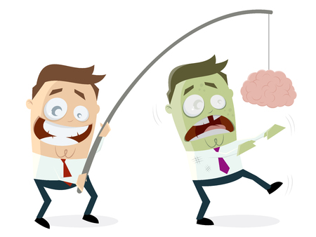 businessman luring zombie with brain on a rod Illustration