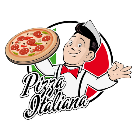 happy man in a badge with text did Means italian pizza Illustration